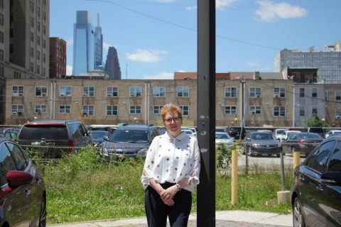 Jessica Hilburn-Holmes stands at EJC site