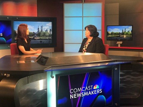 Jill Horn interviews Anita Santos-Singh at the Comcast Newsmakers desk