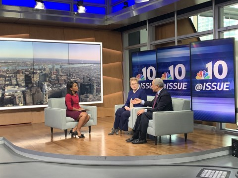 Judge Lewis and Jessica Hilburn-Holmes being interviewed on NBC10's @Issue